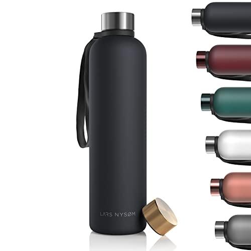 LARS NYSØM Borraccia 1l | Bottiglia acqua 1000ml BPA-free | Bottiglia ultraleggera in Tritan Sport a prova di perdite | Ideale per sport, ufficio, yoga, bambini | 2 coperchi inclusi