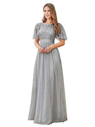 Ever-Pretty Vestiti da Cerimonia Stile Impero Maniche Corte Linea ad A Elegante Scollo a Rotondo Donna Tulle Grigio 48