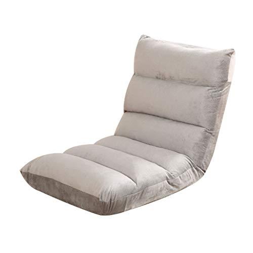 Klappstuhl Bay Fenster ohne Beine Lazy Back Fünf-Geschwindigkeits-Anpassung Sofakissen Schlafsaal Bett Multi-Color 110 * 53 * 14cm MUMUJIN (Color : Gray)