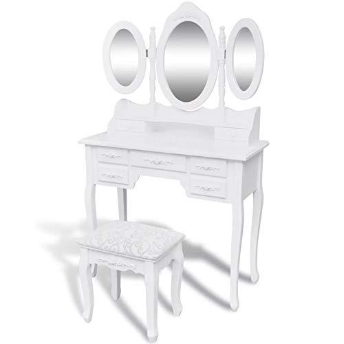Ausla Tocador con 5 cajones, mesa de maquillaje con 1 taburete, 3 espejos, estilo victoriano, para dormitorio, maquillaje fácil de montar, color blanco