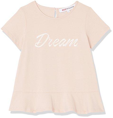 Amazon-Marke: RED WAGON Mädchen Print T-Shirt mit Schößchen, Rosa (Pink), 128, Label:8 Years