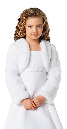 Lacey Bell Madchen Kinder Kommunion Jacke kunstpelz Bolero Pelzimitat Fell-Nerzimitat CJ14