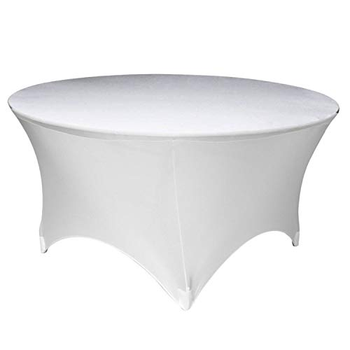 Bruiloft Decor Wit Ronde Spandex Lycra Tafelkleed Stretchy Slipcover voor bruiloft, Kerstmis, Banket, Verkopers, Feest, Decoratie, 60 inch, 2 stks