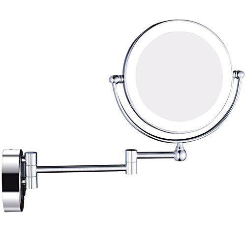 Espejo de maquillaje iluminado de 8 pulgadas, espejo de aumento de doble cara con luz LED, espejo de afeitar de vanidad de pared extensible para baño con enchufe de interruptor,Cromo,5X