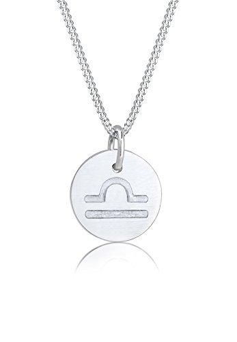 Elli Halskette Sternzeichen Waage Astro Symbol Matt 925 Silber