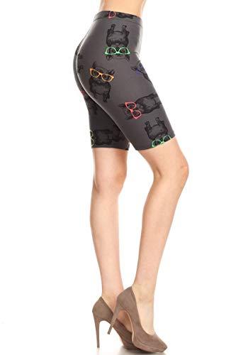Leggings Depot LBK-R718-XL Hipster Frenchie Printed Biker Shorts, X-Large