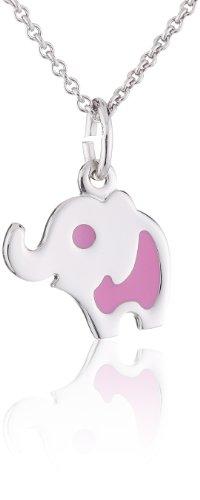 Xaana Kinder-Anhänger Elefant rosa Lack incl Kette 36 38 cm 925 Sterling Silber AMZ0095