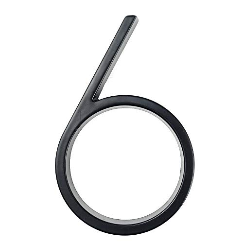 Engfgh 3D Modern House Number House Number, Zinc Alloy House Number, DIY Cafe Wall Decoration Outdoor Signage 0-9 Black (Color : 6)