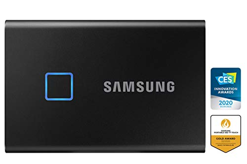 Samsung T7 Touch Portable SSD - 1 TB - USB 3.2 Gen.2 Externe SSD Metallic Black (MU-PC1T0K/WW)