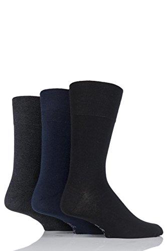 Gentle Grip Herren 3 Paar Einfarbige Socken - Schwarz/Marine/Grau 45-48