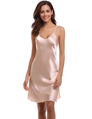 Aibrou Damen Sexy Negligee Nachthemd Satin Nachtkleid Nachtwäsche Unterwäsche Sleepwear Kurz Trägerkleid V Ausschnitt Champagne L