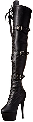 Pleaser ADORE-3028 Blk STR Faux Leather/Blk Matte UK 4 (EU 37)