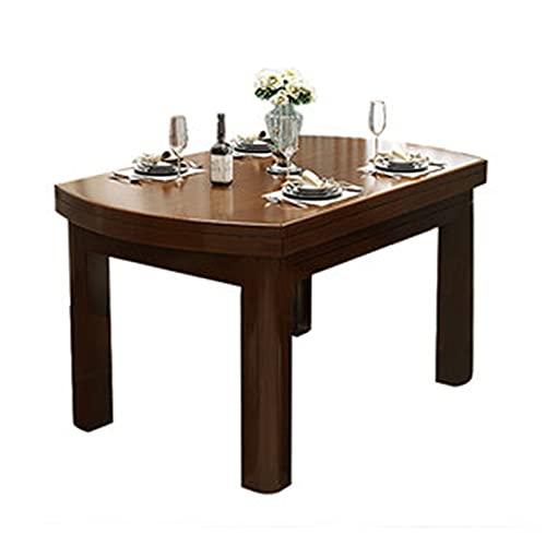 Vobajf Mesa de comedor de madera maciza, plegable, mesa de comedor para el hogar, mesa redonda moderna y minimalista (color: marrón, tamaño: 120 x 78 x 75 cm)