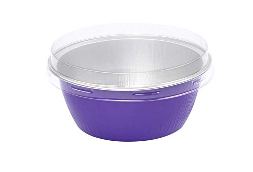 KitchenDance Disposable Aluminum Colored Baking Cups- Creme Brulee cups- Dessert Cups- 4 oz. Size with Lids (100, Purple w/Flat Lid)