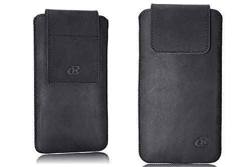 OrLine Echt Leder Gürtel Handytasche passend für BlackBerry Q5 Handy Tasche schwarz