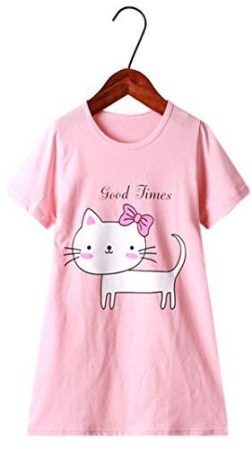 HOYMN Nachthemden für Mädchen Baumwolle Prinzessin Kurzarm Kinder Schlafanzüge für 3-12 Jahre