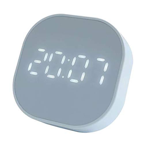 BSJZ Reloj Despertador Multifuncional Decorativo Reloj Despertador Cuadrado Inteligente Luminoso LED Reloj de Escritorio silencioso Relojes de Mesa Digitales de escr