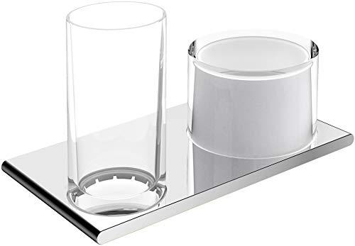 KEUCO Doppel-Halter für Zahnputzbecher und mit integriertem Lotion-Spender, für Flüssigseife, chrom und Kristallglas, für Badezimmer, Edition 400