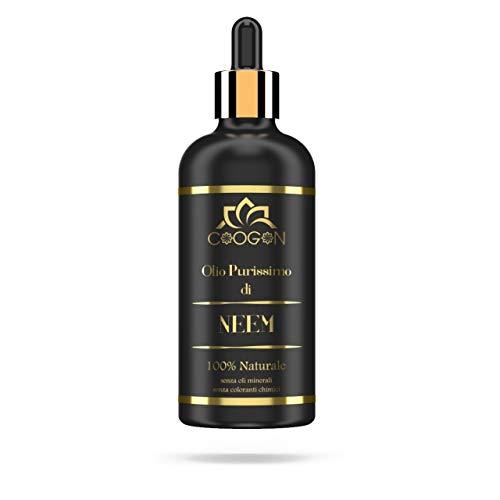 n.2 confezioni Olio puro di NEEM 100% VEGETALE 100 ml nuovo formato (flacone vetro) chogan