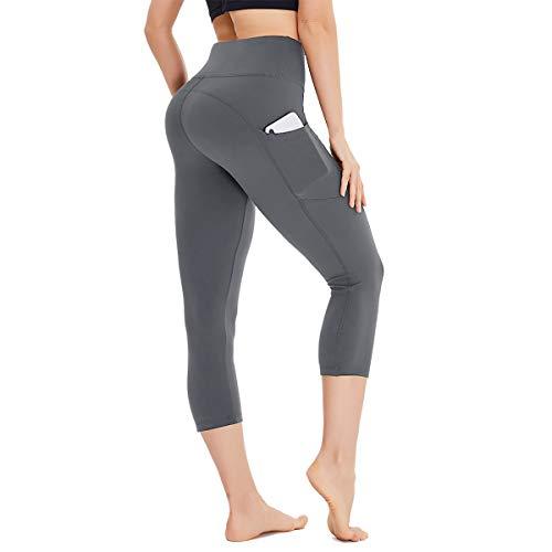 HIGHDAYS Capri-Yogahose für Damen, hohe Taille, Capri-Leggings mit Taschen für Yoga, Workout, Radfahren, Laufen... - Grau - Mittel