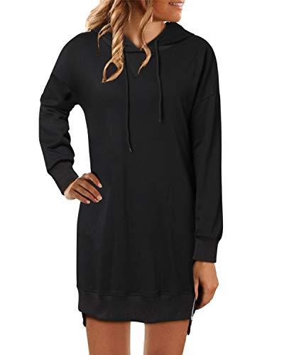 YOINS Hoodie Kleid Herbst Kleider Damen Oversize Kapuzenpullover Herbst Sweatshirt Langarm Oberteil Einfarbig Top