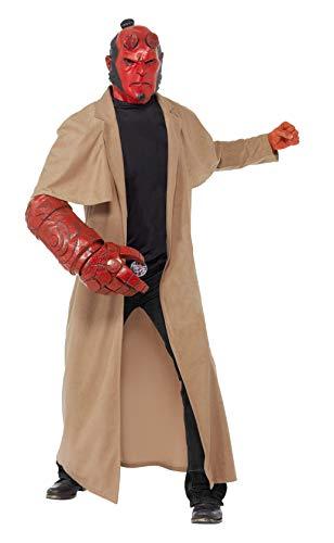 Hellboy Kostüm enthält Mantel Maske Armteil und Gürtelschnalle, Medium