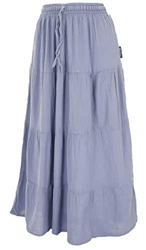 GURU SHOP Falda estilo hippie chic, falda flamenca, de algodón, para mujer, alternativa azul grisáceo M