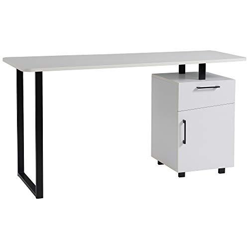 HOMCOM Mesa Escritorio con Cajón y Armario con Balda Ajustable Mesa para Ordenador Multiusos de Canto Redondo 150x60x76 cm Blanco