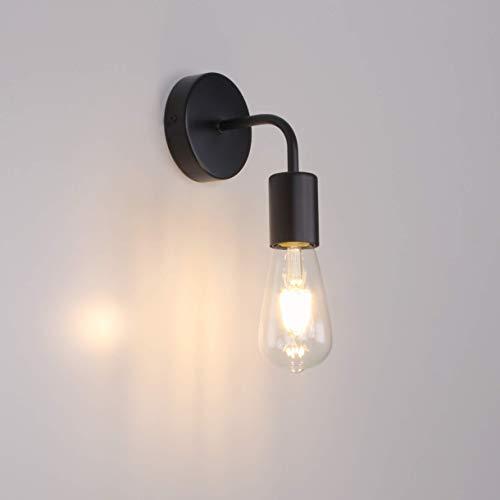 MantoLite Luces De Pared Negras Simplicity Vintage Industrial Luz de Noche Para Mesita de Noche E27 Edison Bulbs Aplique de Pared Para Iluminación de Restaurante de Hotel (Bombilla No Incluida)