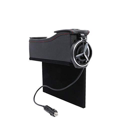 LEIJINGZI Worth having - Caja de almacenamiento de cuero de asiento de automóvil multifuncional, bolsillo lateral de la consola, captura de huecos Organizador de monedas y titular de taza de teléfono