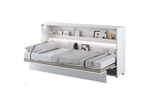 Schrankbett Bed Concept, Wandklappbett mit Lattenrost, V-Bett, Wandbett Bettschrank Schrank mit integriertem Klappbett Funktionsbett (BC-06, 90 x 200 cm, Weiß/Weiß, Horizontal)
