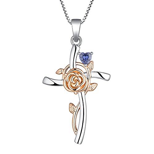 YL Collar con Cruz Plata de ley 925 con Diciembre Piedras de Nacimiento Tanzanita Colgante Crucifijo Rosa para Mujer Mamá