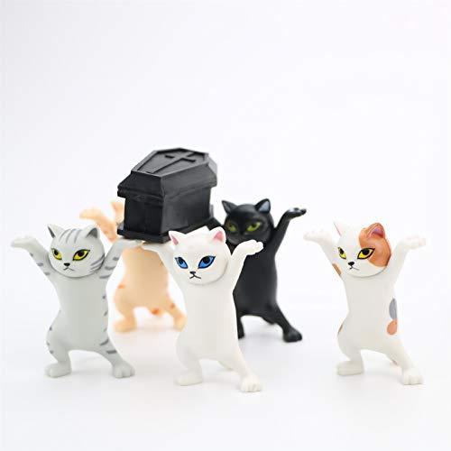 YSJJUSZ Figur 6 Teile/Satz lustige Katze tragen Figuren Action Spielzeug Tiere Katze Figuren handgemachte Dekoration Spielzeug Geschenk (Color : 6pcs per Set)