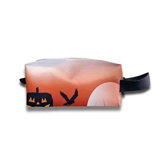 Halloween Scarecrow Background Vector Image Personalized Cosmetic Bag Portable Printing Bag for Women's Storage
