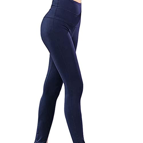 ZZAL los Pantalones Yoga Leggings Ajustados de Cintura Alta Pantalones Elásticos de Entrenamiento Sin Costuras Multifunción Antigrasa(Size:l,Color:Azul Marino)