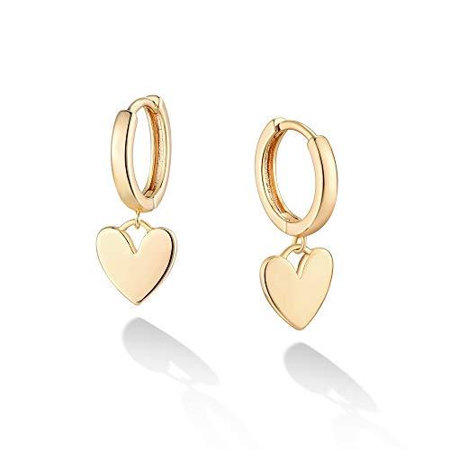 VACRONA Gold Heart Earrings Huggie Earrings for Women 14k Gold Plated Small Huggie Hoop Earrings