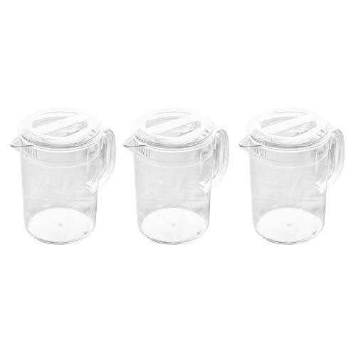 Milageto Jarra de acrílico transparente de 3 lotes con tapa para guardar bebidas para té y agua, 2 l