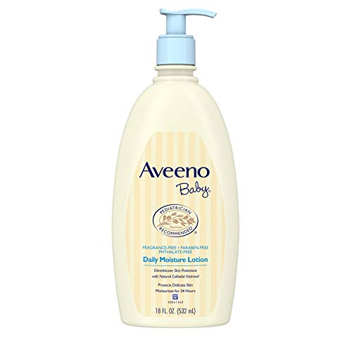 Aveeno Baby Daily Moisture Lotion for Delicate Skin with Natural Colloidal Oatmeal & Dimethicone, Hypoallergenic, Fragrance-, Phthalate- & Paraben-Free, 18 fl. oz