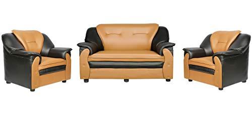 Sekar Lifestyle 2+1+1 Seater Dual Tone Polyurethane Sofa Set for Living Room [Colour - Black & Orange] (Medium)