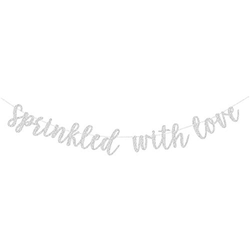 Silver Glitter Sprinkled With Love Banner Sign Garland Pre-strung for Baby Sprinkle,Baby Shower Decorations