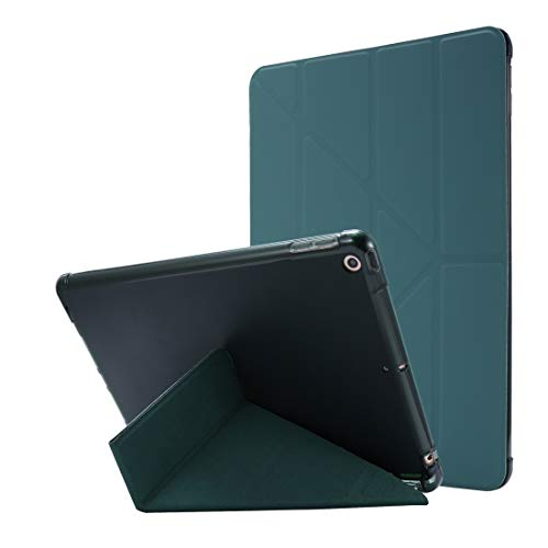 LESLEY LM For iPad 10.2 / iPad 10.2 2020 Airbag Deformation Horizontal Flip Leather Case with Holder & Pen Holder 2021 NEW MODEL (Color : Dark Green)