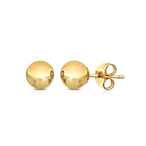 Premium 14K Gold Ball Stud Earrings - Butterfly Backings 3mm-8mm Yellow White or Rose (Yellow, 3)