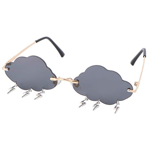 VALICLUD - Gafas de sol para mujer, gafas de sol sin montura en forma de nube con colgantes Lampo, gafas de sol a la moda, lentes de color gris Gris gris