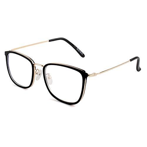 GQUEEN Modebrille Brille Ohne Stärke Fake Brille Damen Herren Rechteck PG41