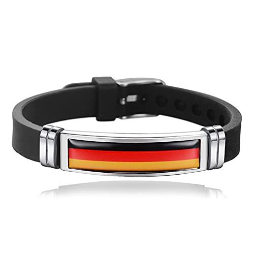 Pulsera de silicona con bandera nacional [ALEMANIA] pulsera de acero inoxidable, tamaño ajustable, pulsera para fanáticos del fútbol