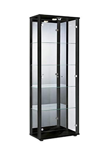 BR-Wohndesign Glasvitrine Sammlervitrine Standvitrine Vitrine in Schwarz (Dekor) mit 4 Glaseinlegeböden höhenverstellbar Beleuchtung LED Schloß und Spiegel an der Rückwand