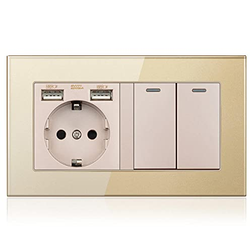 Toma de pared con interruptor de balancín, conector 220V 16A con panel de cristal USB 146 * 86 con interruptor de luz 2 banda 1/2/3-Oro_2 GANGS WAY