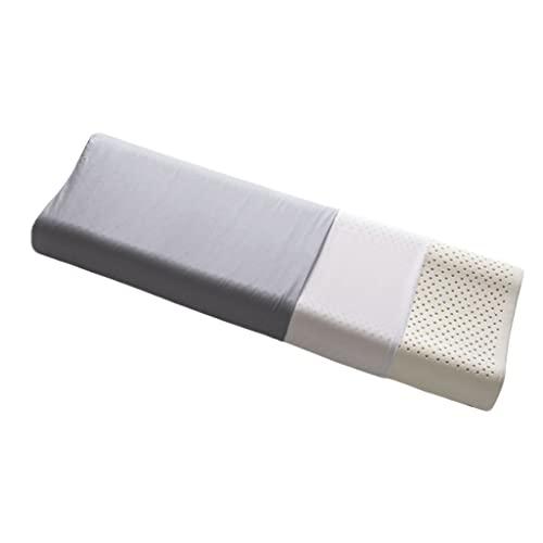 WXYPP Almohada Sana de látex con Dos Fundas de Almohadas Doble Almohada Larga 120 * 35 * 7 / 9cm (Color : Light Gray)