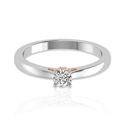 Anillo de metal mixto de moissanita certificado por IDCL de 0,26 ct, DEF-VS1 de claridad de color, anillo de corazón clásico de novia, anillo de oro para mujer, 14K Oro blanco, Size:EU 46