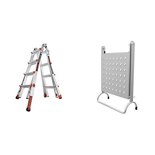 Little Giant Ladders, Revolution with Ratchet Levelers, M17, 17 ft, Multi-Position Ladder,Ratchet Leg levelers, Aluminum + 10104 EMW1269521 Ladder Accessories, Gray
